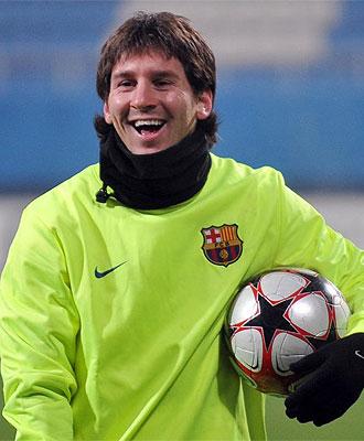 Leo Messi, durante un entrenamiento del Barça