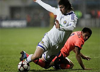 Alves, durante el partido