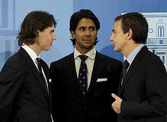 Rafa Nadal, Fernando Verdasco y Jos� Luis Rodr�guez Zapatero