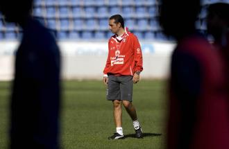 Oltra, durante un entrenamiento del Tenerife en el Heliodoro.