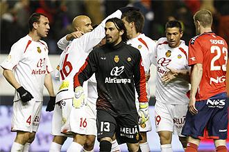El portero del Mallorca, Dud� Aouate, durante el partido ante Osasuna