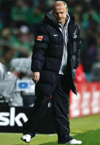 Schaaf, durante un partido del Werder Bremen esta temporada.