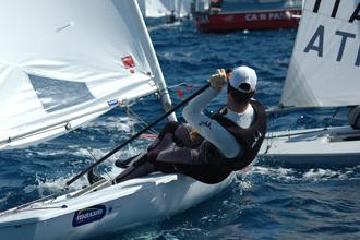 Javier Hern�ndez en plena competici�n.