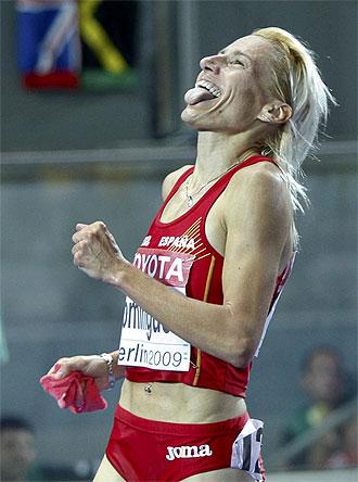 Marta Dom�nguez, tras convertirse en campeona mundial de 3.000 metros obst�culos.