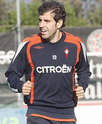 Roberto Trashorras, durante un entrenamiento con el Celta