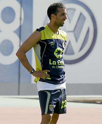 David Gonz�lez, en un entrenamiento de Las Palmas, en una imagen de archivo