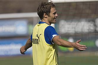 Mikel Alonso, durante un entrenamiento del Tenerife