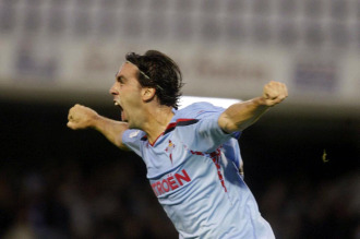 Jordi celebra un gol con el Celta