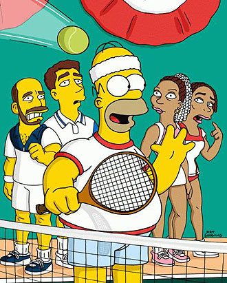 Homer Simpson jugando al tenis con Agassi, Sampras y las hermanas Williams