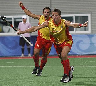 Santi Freixa celebrando un gol en los Juegos Olímpicos de Pekín