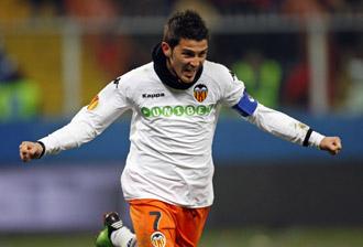 David Villa celebra su gol contra el Genoa