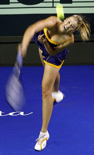 Maria Sharapova durante un torneo de exhibici�n