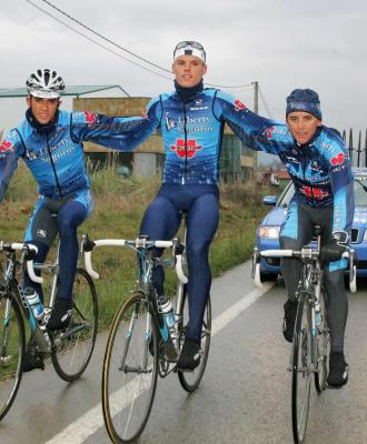 Allan Davis (derecha), en su etapa en el Liberty Seguros junto a Contador (izquierda) y Luis Le�n S�nchez (centro).