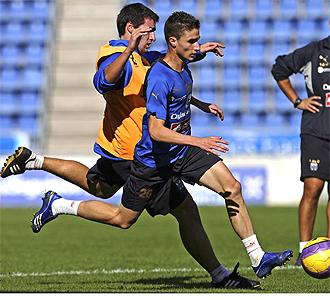 Marc Bertr�n y Omar durante un entrenamiento.