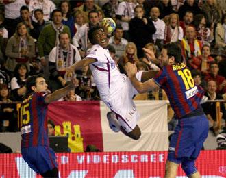 Lance de la final disputada entre el Barça y el Ciudad Real.
