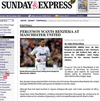 Informaci�n del Sunday Express sobre Benzema