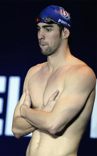 Phelps se lamenta durante una prueba en Manchester