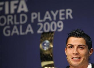 Cristiano Ronaldo, en la rueda de prensa del FIFA World Player.