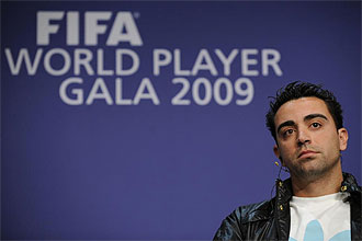 Xavi, en la rueda de prensa del FIFA World Player