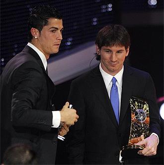 Cristiano Ronaldo y Messi en la gala del FIFA World Player