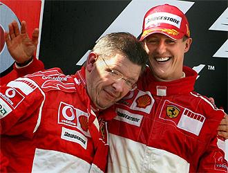 Ross, con Schumi, en su etapa en Ferrari