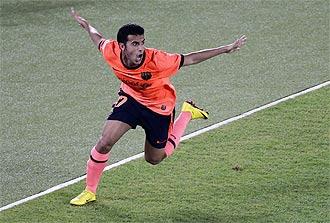 Pedro celebra su gol en la final del Mundial de Clubes