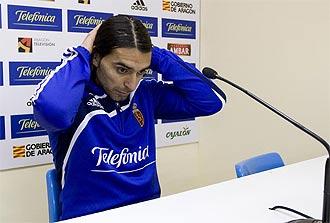 Roberto Fabi�n Ayala, en rueda de prensa con el Zaragoza