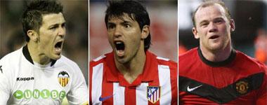 Villa, Agüero y Rooney
