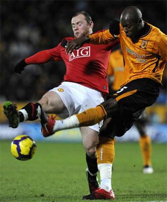 Rooney durante un momento del partido ante el Hull