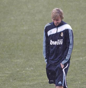 Guti, en un entrenamiento del Madrid.