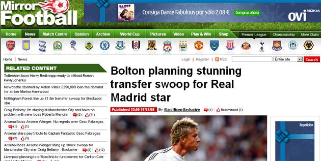 El web del 'Daily Mirror' refleja el interés por Guti.