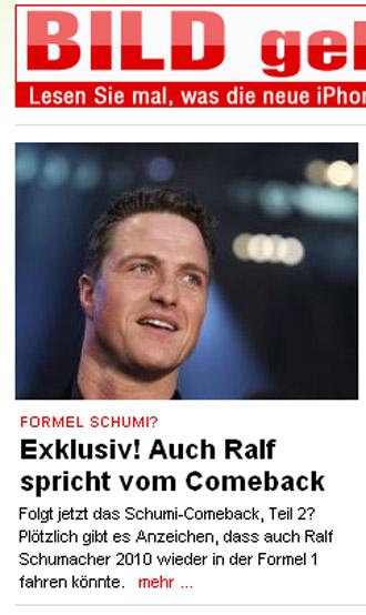 El web de 'Bild' refleja la exclusiva con las palabras de Ralf.