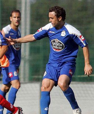 Sergio, en un entrenamiento del Deportivo.