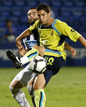 Sergio Su�rez, durante el partido de Copa del Rey ante el Recreativo en Huelva