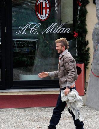 Beckham en su llegada a Milán