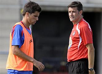 Adrián y Míchel, durante un entrenamiento