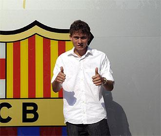 Keirrison, en su presentaci�n como jugador del Barcelona.