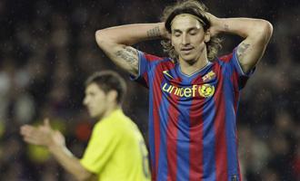 Ibrahimovic se lamenta durante el choque ante el Villarreal.