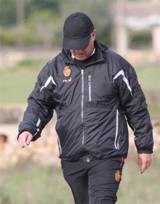 Manzano, durante un entrenamiento del Mallorca.