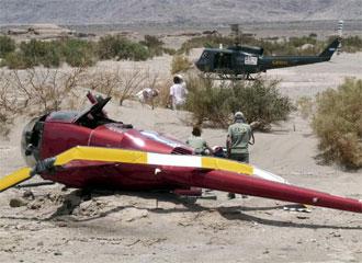 El helic�ptero siniestrado en la cuarta etapa del Dakar