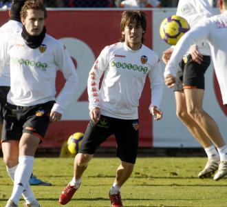 Baraja y Silva, durante el entrenamiento del Valencia.