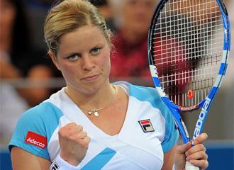 Kim Clijsters celebra un punto.