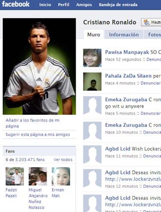 El grupo de fans de Cristiano Ronaldo en Facebook
