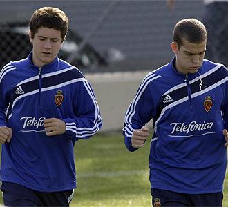 Laguardia y Ander Herrera durante un entrenamiento
