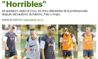 "Horacio Garc�a titula ""horribles"" en Ol�."