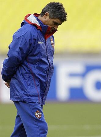 Juande Ramos, en un entrenamiento con el CSKA.
