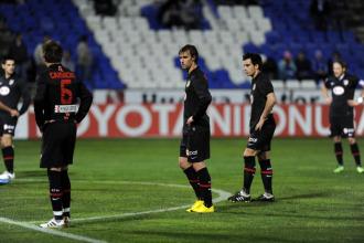 Los jugadores del Atl�tico, el pasado mi�rcoles en Huelva.