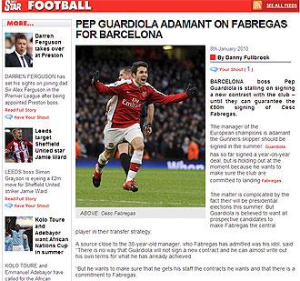 Informaci�n del 'Daily Star' sobre F�bregas y Guardiola