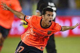 Pedro celebrando su gol en el Mundial de Clubes