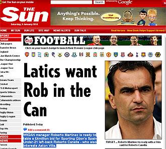 Informaci�n del 'The Sun' sobre Canella y el Wigan